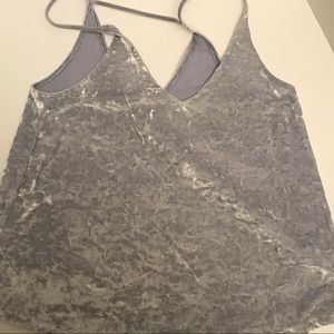 Crushed Velvet Silver Grey Night Out Tank Top